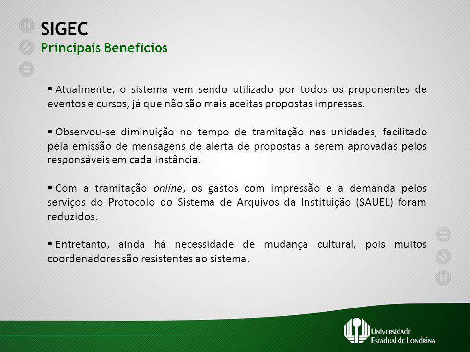 SIGEC Principais Benefícios  Atualmente, o sistema vem sendo utilizado por todos os proponentes de eventos e cursos, já que não são mais aceitas prop