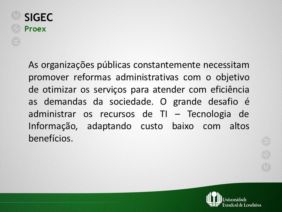 SIGEC Proex As organizações públicas constantemente necessitam promover reformas administrativas com o objetivo de otimizar os serviços para atender c
