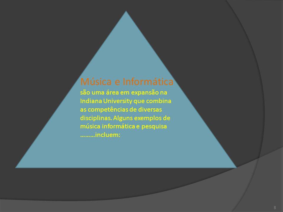 8 Música e Informática são uma área em expansão na Indiana University que combina as competências de diversas disciplinas.