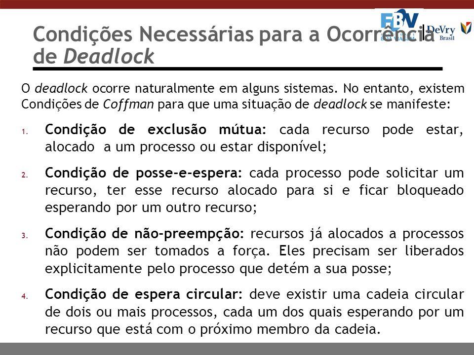 Escalonamento de Processos Prevenir a ocorrência de deadlocks 1) Exclusão mútua: o processo solicita o recurso para uso de forma mutuamente exclusiva.