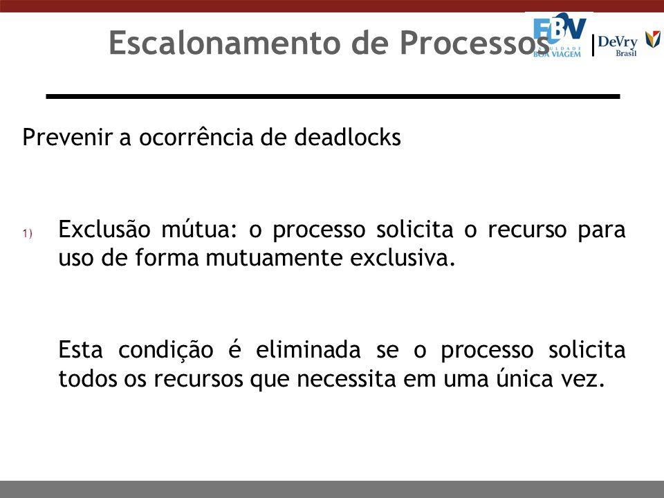 Escalonamento de Processos Prevenir a ocorrência de deadlocks 2) Espera por recursos (posse-e-espera):.