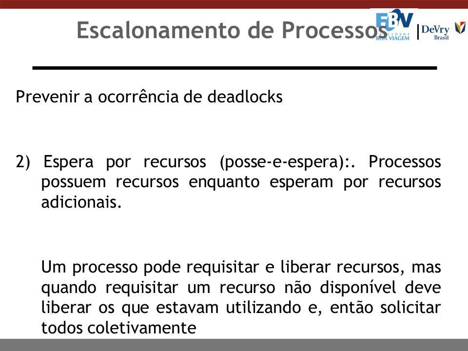 Escalonamento de Processos Prevenir a ocorrência de deadlocks 3) Não preempção: Quando os recursos não puderem ser confiscados temporariamente para serem alocados a outros processos.