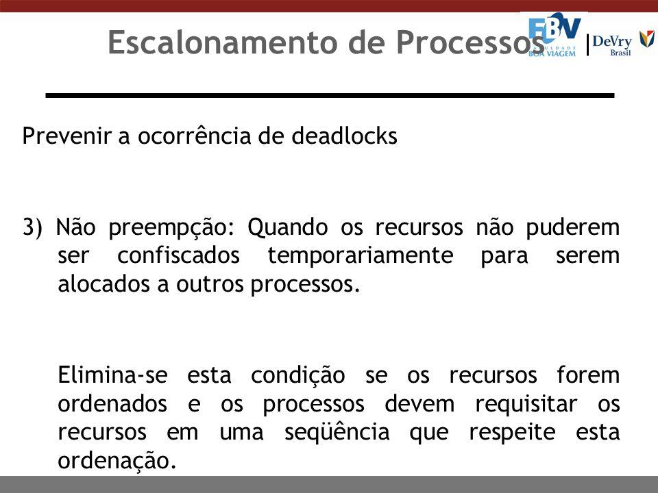 Escalonamento de Processos Prevenir a ocorrência de deadlocks 4) Espera circular: Quando for possível a formação de um ciclo no qual cada processo está bloqueado à espera de recursos que estão alocados para outros processos de mesmo ciclo.