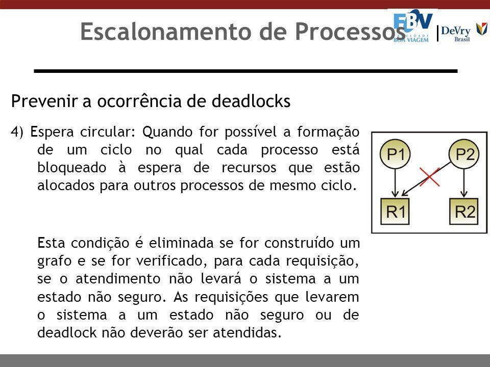 Condições Necessárias para a Ocorrência de Deadlock As três primeiras caracterizam um modelo de sistema, e a última é o deadlock propriamente dito: n Processos que estejam de posse de recursos obtidos anteriormente podem solicitar novos recursos.