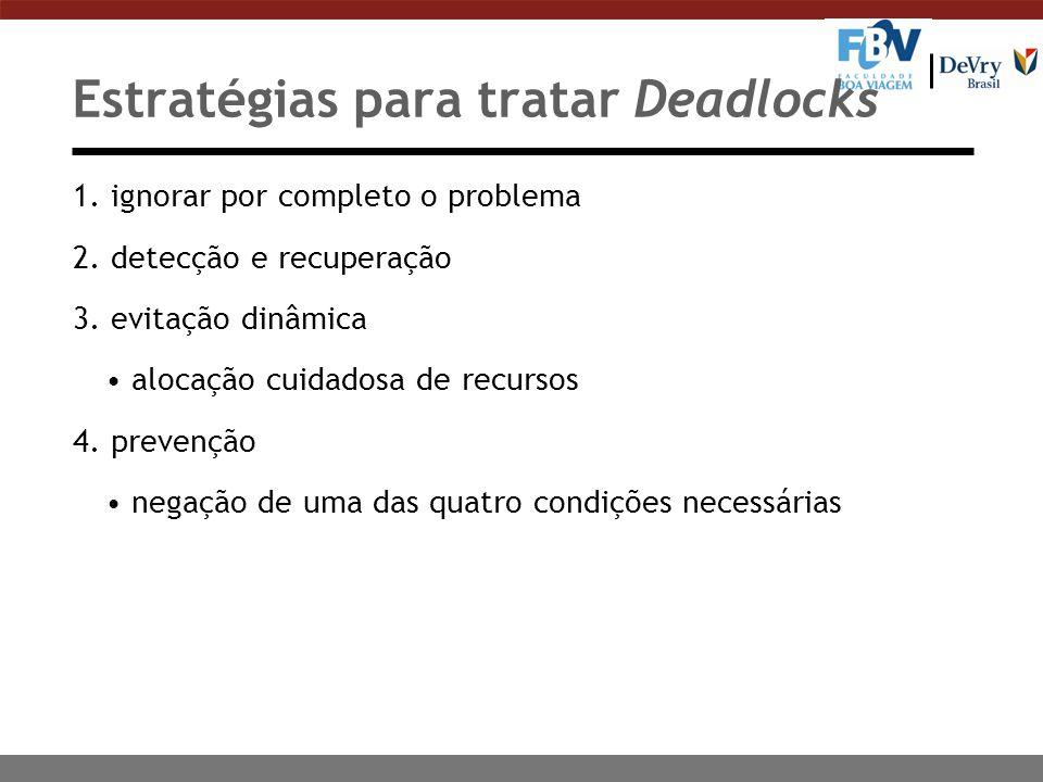 Tratamento de Deadlock Existem quatro estratégias para tratamento de deadlocks: Algoritmo do Avestruz (Ignorar a situação) n A estratégia mais simples para tratamento (ou não) do deadlock, conhecida como Algoritmo do Avestruz, é simplesmente ignorá-lo.