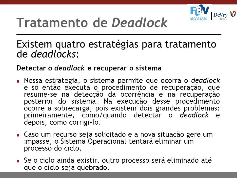 Tratamento de Deadlock Existem quatro estratégias para tratamento de deadlocks: Evitar o deadlock (Deadlock avoidance) n O sistema pode evitar que um impasse ocorra mediante a alocação cuidadosa dos recursos disponíveis.