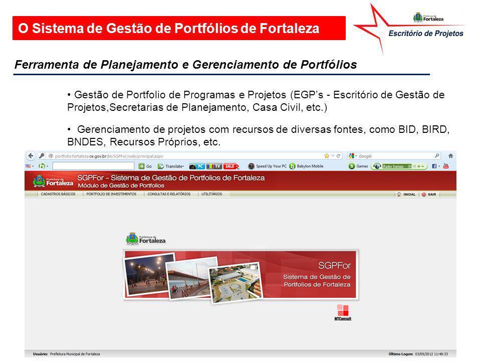 O Sistema de Gestão de Portfólios de Fortaleza Gestão de Portfolio de Programas e Projetos (EGP's - Escritório de Gestão de Projetos,Secretarias de Pl