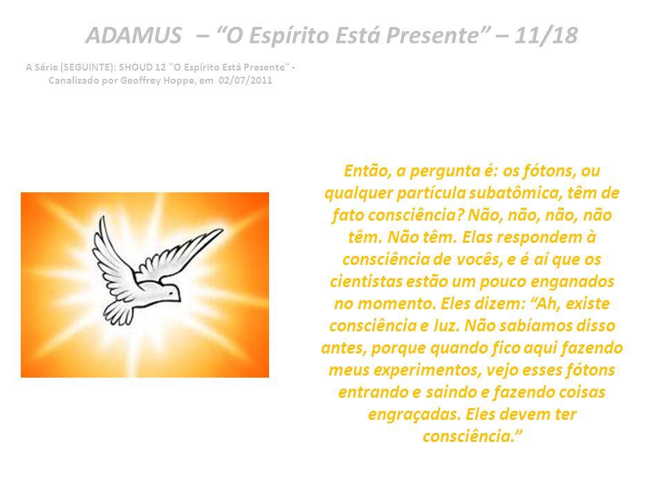 ADAMUS – O Espírito Está Presente – 10/18 A Série (SEGUINTE): SHOUD 12 O Espírito Está Presente - Canalizado por Geoffrey Hoppe, em 02/07/2011 Então, essas partículas de fótons parecem entrar e sair da realidade.