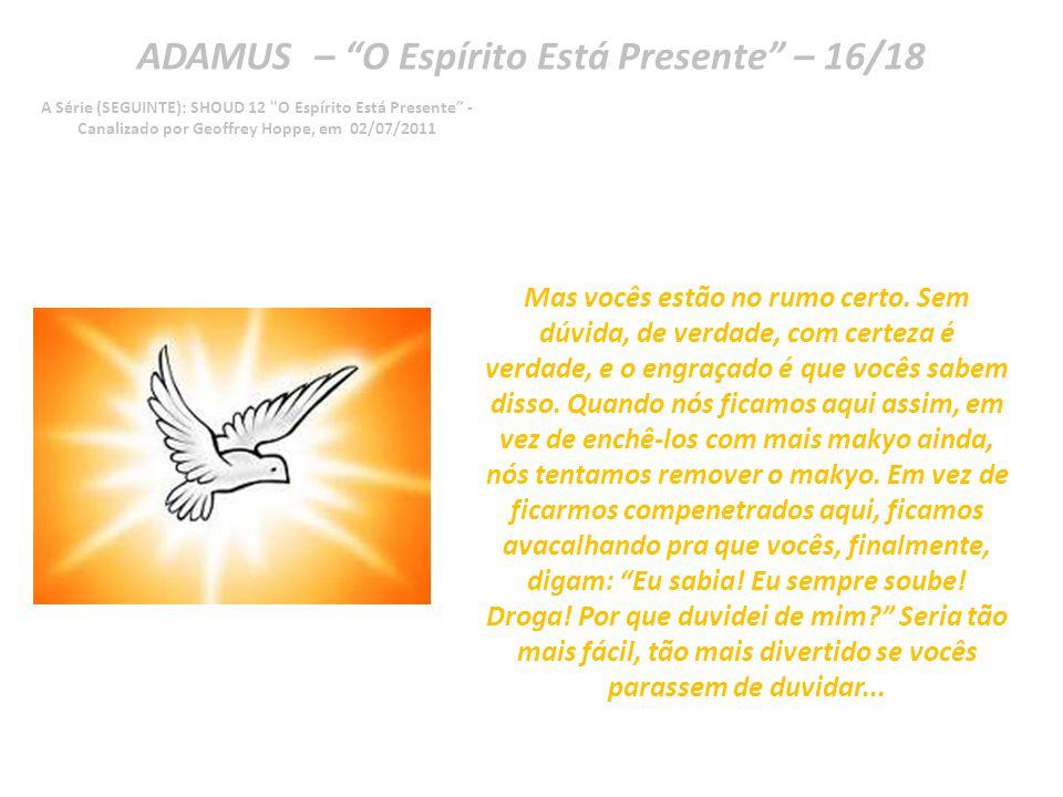 ADAMUS – O Espírito Está Presente – 15/18 A Série (SEGUINTE): SHOUD 12 O Espírito Está Presente - Canalizado por Geoffrey Hoppe, em 02/07/2011 Vocês duvidam de si mesmos, às vezes.
