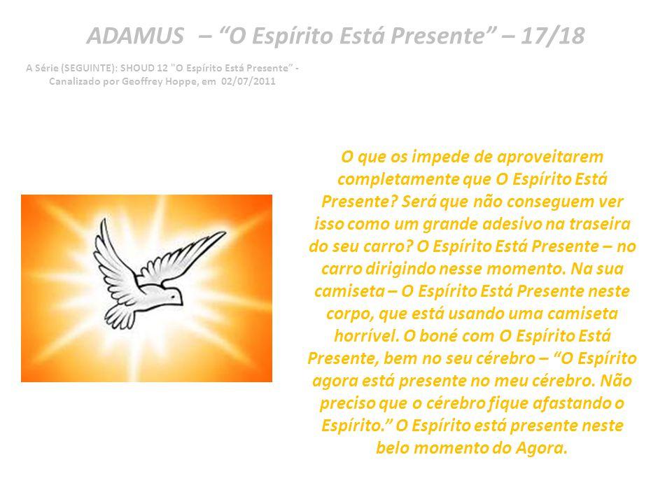 ADAMUS – O Espírito Está Presente – 16/18 A Série (SEGUINTE): SHOUD 12 O Espírito Está Presente - Canalizado por Geoffrey Hoppe, em 02/07/2011 Mas vocês estão no rumo certo.
