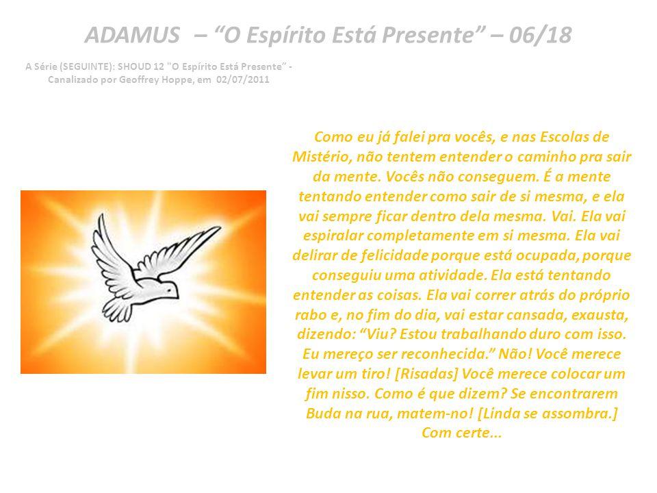 ADAMUS – O Espírito Está Presente – 05/18 A Série (SEGUINTE): SHOUD 12 O Espírito Está Presente - Canalizado por Geoffrey Hoppe, em 02/07/2011 Então, como vocês se livram disso.