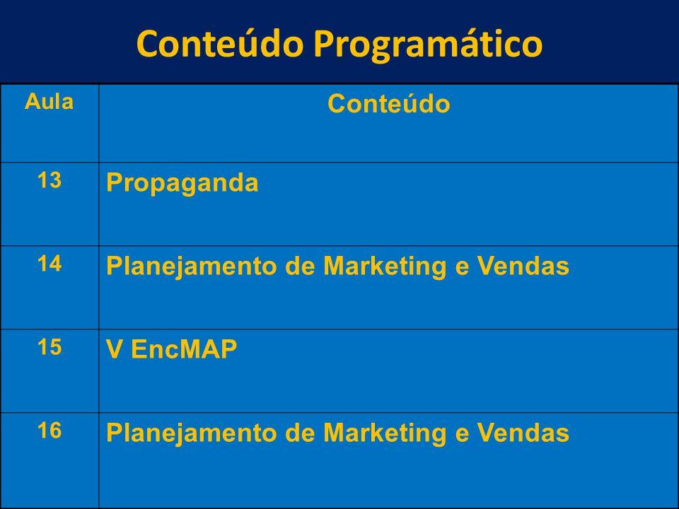 Conteúdo Programático 10 Aula Conteúdo 13 Propaganda 14 Planejamento de Marketing e Vendas 15 V EncMAP 16 Planejamento de Marketing e Vendas