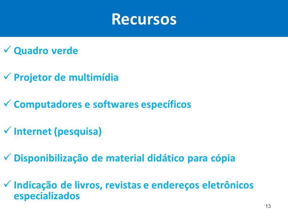 Recursos Quadro verde Projetor de multimídia Computadores e softwares específicos Internet (pesquisa) Disponibilização de material didático para cópia