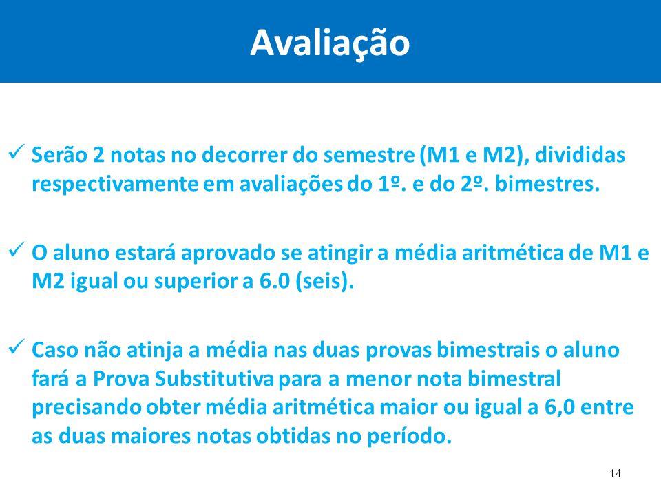 Avaliação Serão 2 notas no decorrer do semestre (M1 e M2), divididas respectivamente em avaliações do 1º. e do 2º. bimestres. O aluno estará aprovado