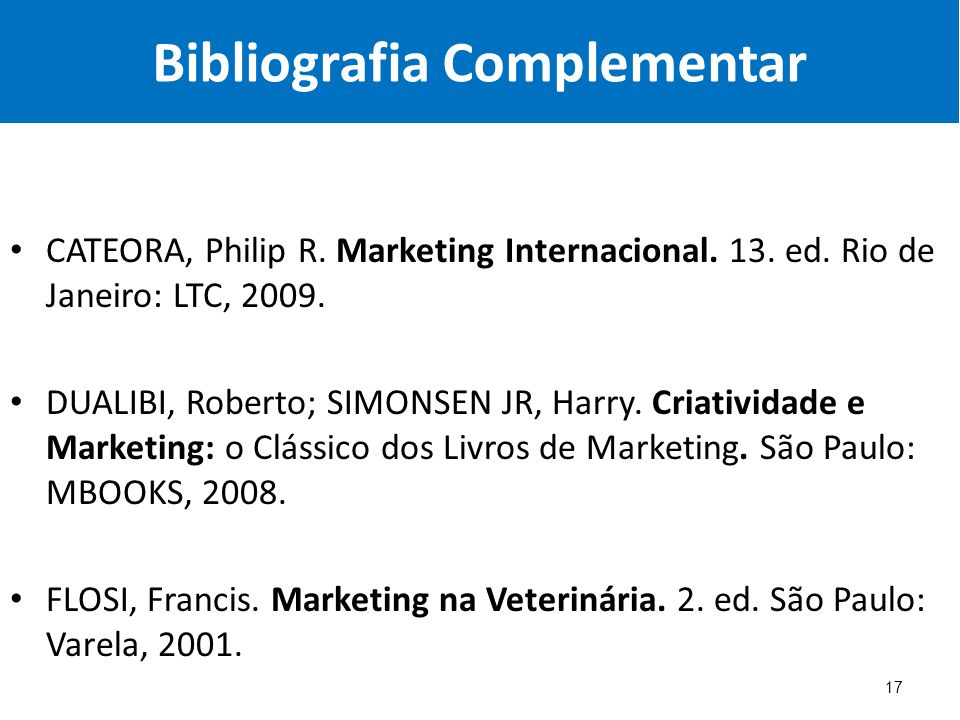 Bibliografia Complementar CATEORA, Philip R.Marketing Internacional.