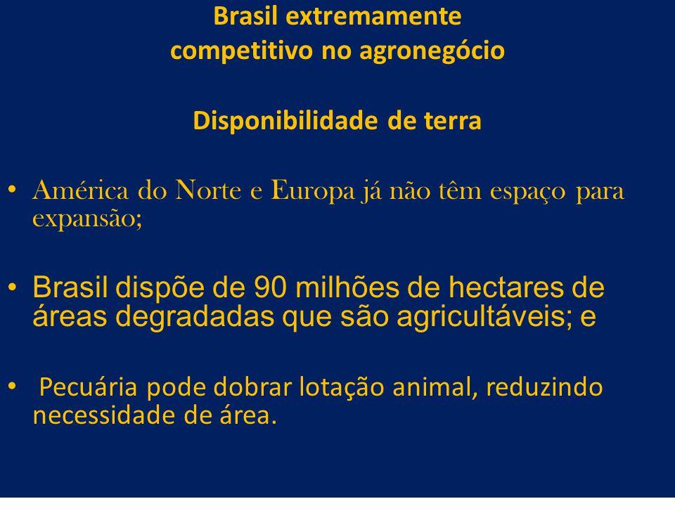 26 Brasil extremamente competitivo no agronegócio Disponibilidade de terra América do Norte e Europa já não têm espaço para expansão; Brasil dispõe de