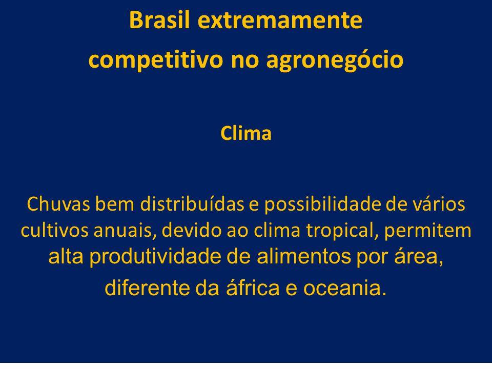 29 Brasil extremamente competitivo no agronegócio Clima Chuvas bem distribuídas e possibilidade de vários cultivos anuais, devido ao clima tropical, p