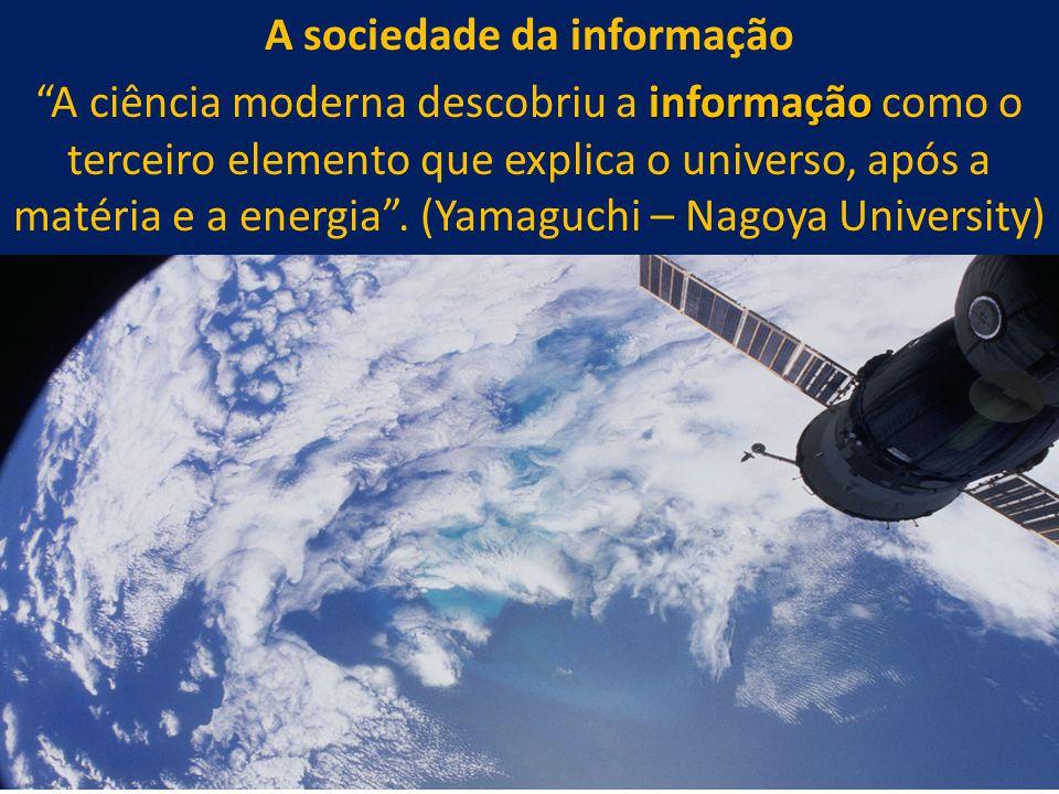 """34 A sociedade da informação informação """"A ciência moderna descobriu a informação como o terceiro elemento que explica o universo, após a matéria e a"""