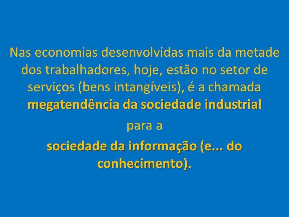 35 megatendência da sociedade industrial Nas economias desenvolvidas mais da metade dos trabalhadores, hoje, estão no setor de serviços (bens intangív