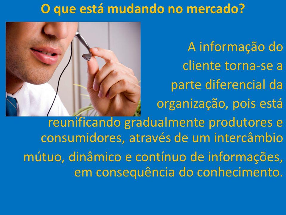37 O que está mudando no mercado? A informação do cliente torna-se a parte diferencial da organização, pois está reunificando gradualmente produtores