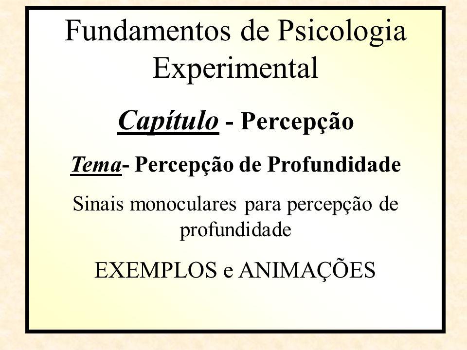 Fundamentos de Psicologia Experimental Capítulo Capítulo - Percepção Tema- Percepção de Profundidade Sinais monoculares para percepção de profundidade