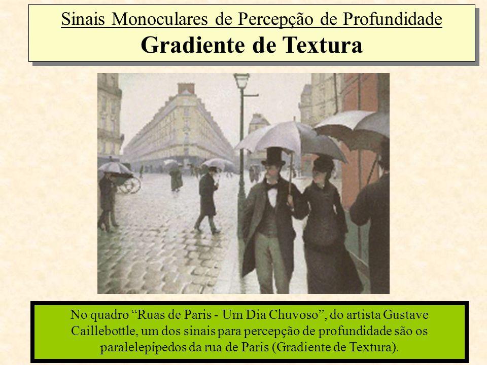 """No quadro """"Ruas de Paris - Um Dia Chuvoso"""", do artista Gustave Caillebottle, um dos sinais para percepção de profundidade são os paralelepípedos da ru"""