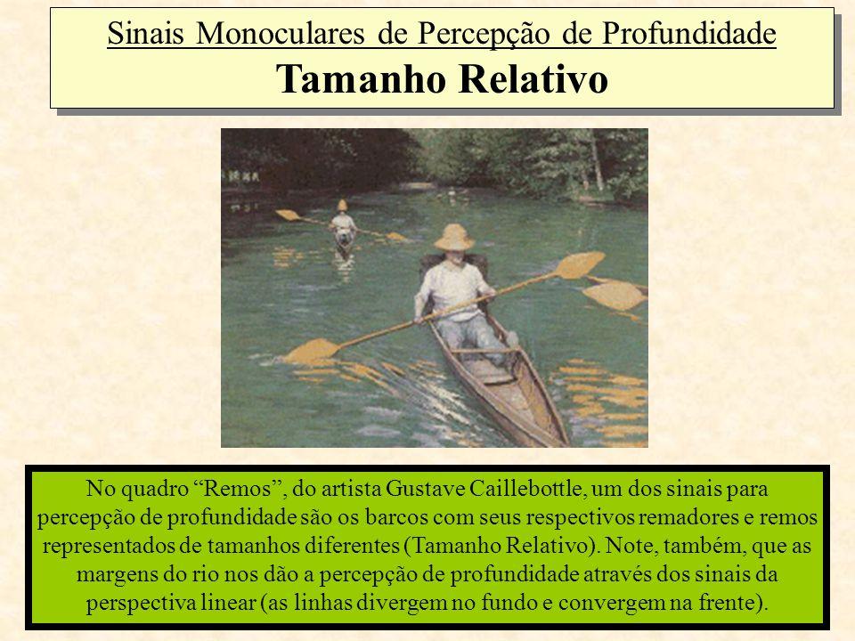 """Sinais Monoculares de Percepção de Profundidade Tamanho Relativo No quadro """"Remos"""", do artista Gustave Caillebottle, um dos sinais para percepção de p"""
