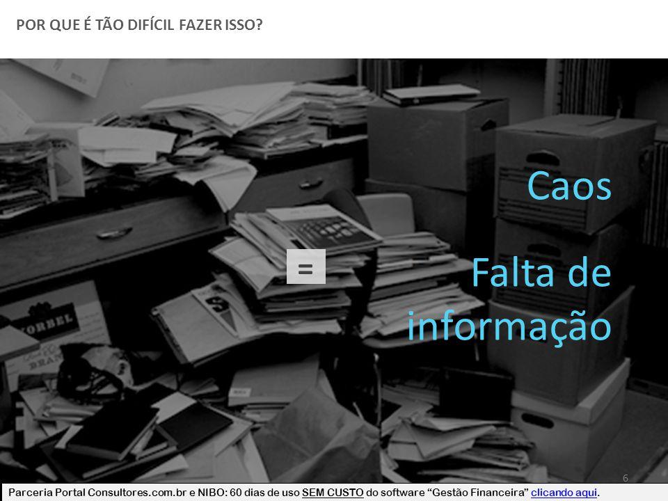 """POR QUE É TÃO DIFÍCIL FAZER ISSO? 6 Caos = Falta de informação Parceria Portal Consultores.com.br e NIBO: 60 dias de uso SEM CUSTO do software """"Gestão"""