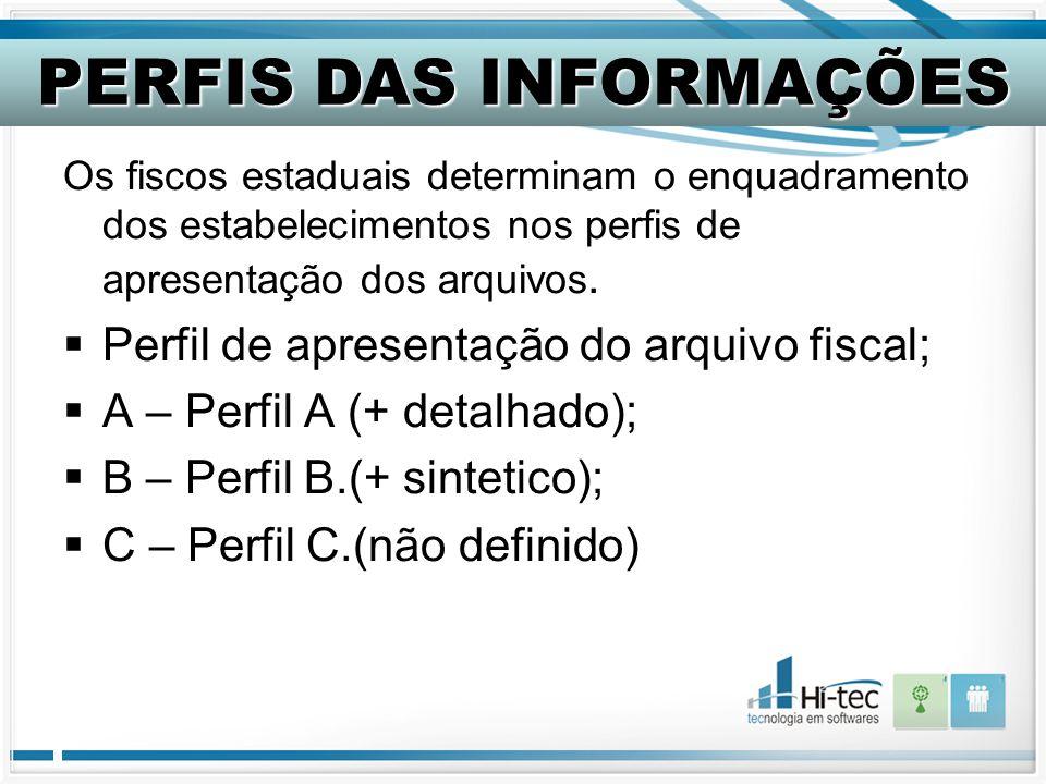 Os fiscos estaduais determinam o enquadramento dos estabelecimentos nos perfis de apresentação dos arquivos.  Perfil de apresentação do arquivo fisca