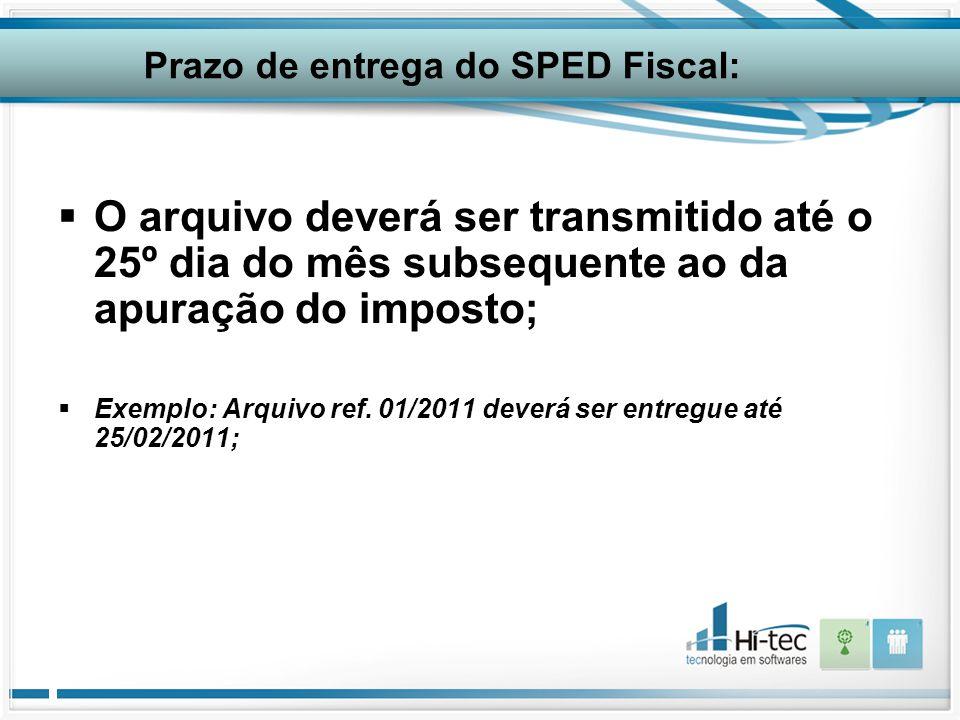  O arquivo deverá ser transmitido até o 25º dia do mês subsequente ao da apuração do imposto;  Exemplo: Arquivo ref. 01/2011 deverá ser entregue até