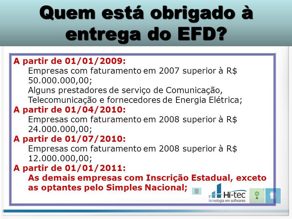 A A partir de 01/01/2009: Empresas com faturamento em 2007 superior à R$ 50.000.000,00; Alguns prestadores de serviço de Comunicação, Telecomunicação