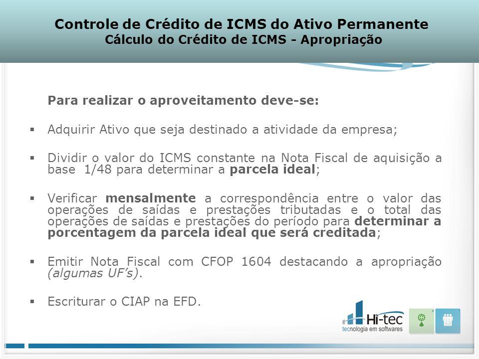 Controle de Crédito de ICMS do Ativo Permanente Cálculo do Crédito de ICMS - Apropriação Para realizar o aproveitamento deve-se:  Adquirir Ativo que