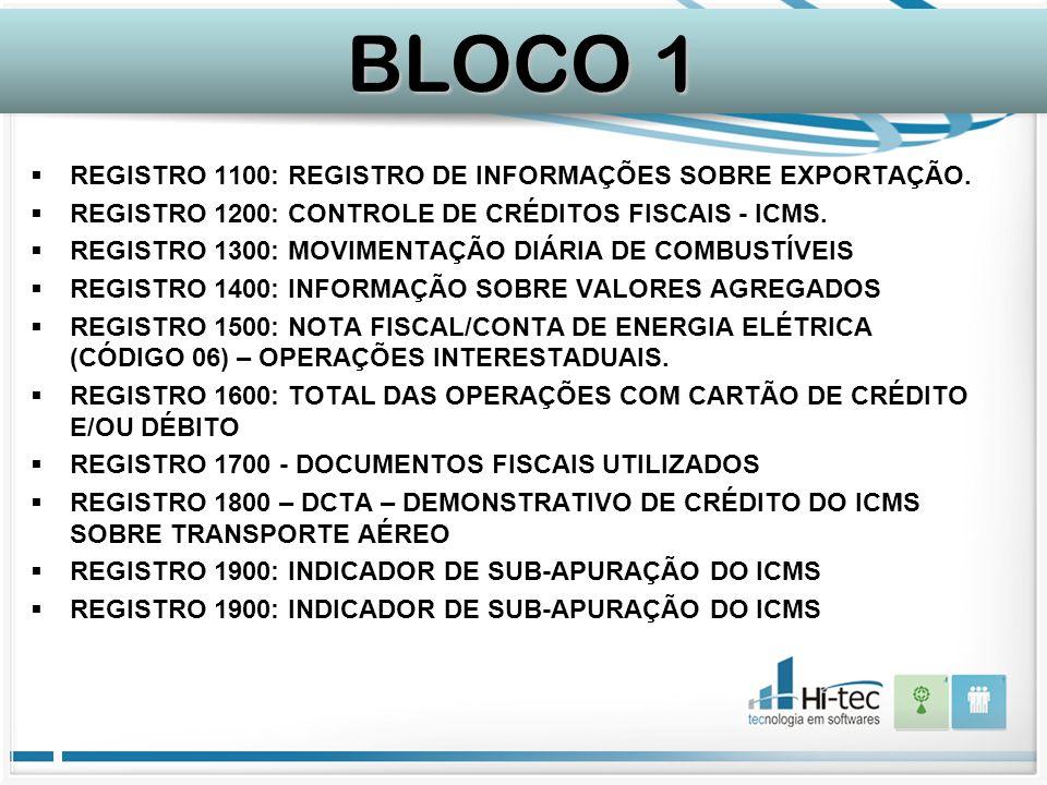  REGISTRO 1100: REGISTRO DE INFORMAÇÕES SOBRE EXPORTAÇÃO.  REGISTRO 1200: CONTROLE DE CRÉDITOS FISCAIS - ICMS.  REGISTRO 1300: MOVIMENTAÇÃO DIÁRIA
