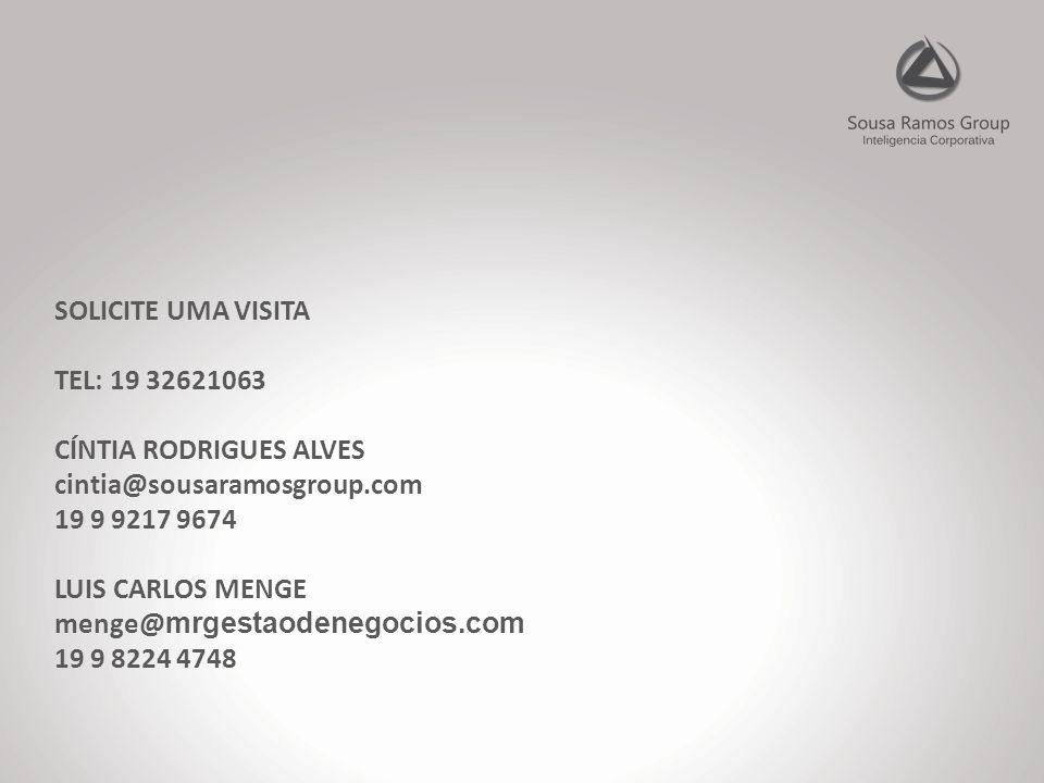 SOLICITE UMA VISITA TEL: 19 32621063 CÍNTIA RODRIGUES ALVES cintia@sousaramosgroup.com 19 9 9217 9674 LUIS CARLOS MENGE menge@ mrgestaodenegocios.com 19 9 8224 4748