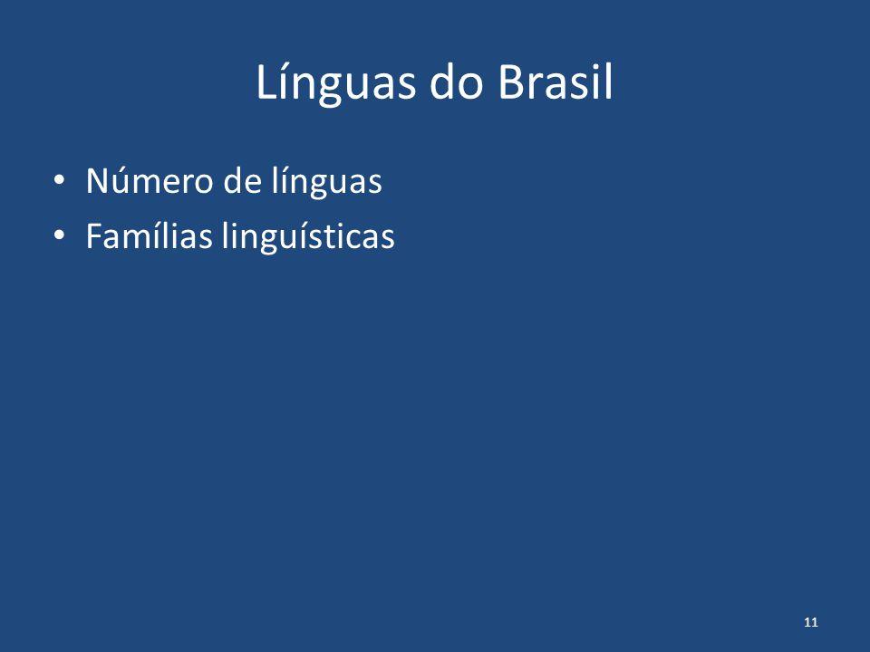 11 Línguas do Brasil Número de línguas Famílias linguísticas
