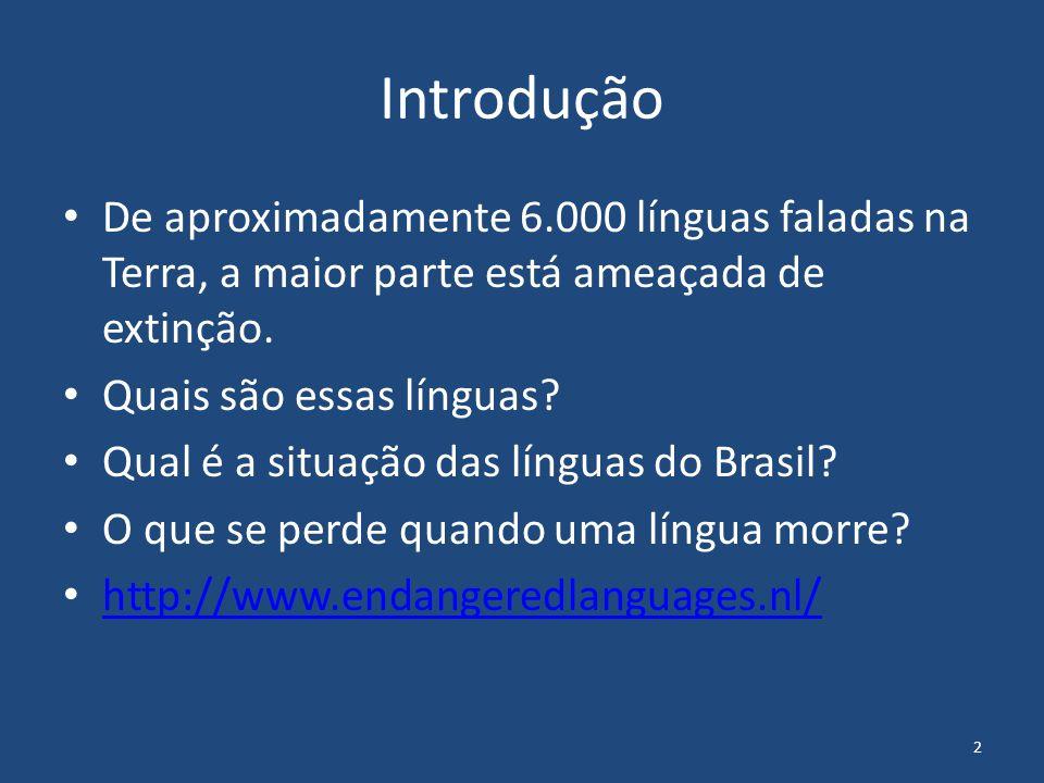 2 Introdução De aproximadamente 6.000 línguas faladas na Terra, a maior parte está ameaçada de extinção. Quais são essas línguas? Qual é a situação da