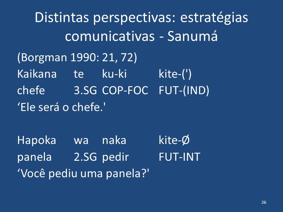 26 Distintas perspectivas: estratégias comunicativas - Sanumá (Borgman 1990: 21, 72) Kaikanateku-kikite-( ) chefe3.SGCOP-FOCFUT-(IND) 'Ele será o chefe. Hapokawanakakite-Ø panela2.SGpedirFUT-INT 'Você pediu uma panela