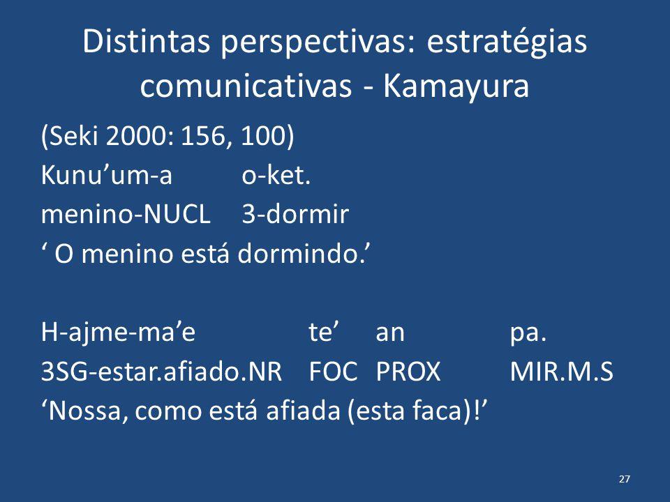 27 Distintas perspectivas: estratégias comunicativas - Kamayura (Seki 2000: 156, 100) Kunu'um-ao-ket. menino-NUCL3-dormir ' O menino está dormindo.' H