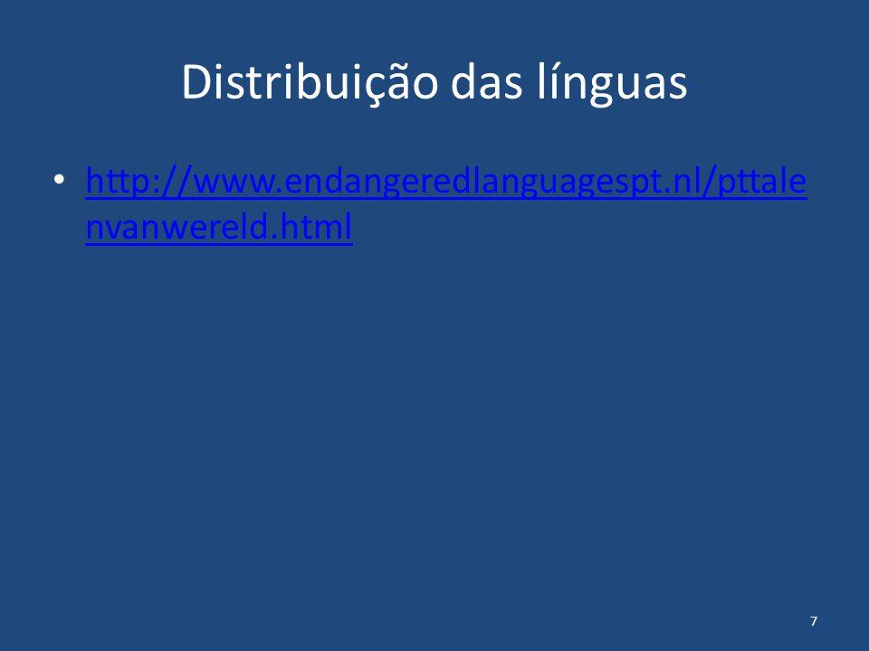7 Distribuição das línguas http://www.endangeredlanguagespt.nl/pttale nvanwereld.html http://www.endangeredlanguagespt.nl/pttale nvanwereld.html