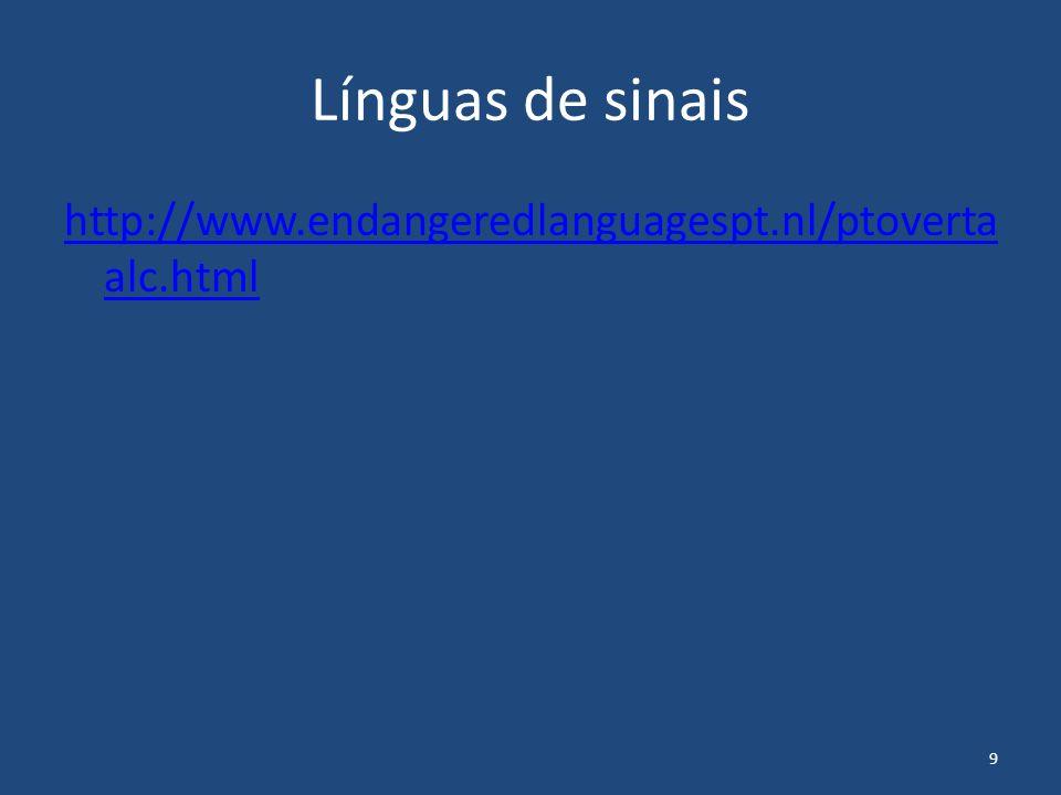 9 Línguas de sinais http://www.endangeredlanguagespt.nl/ptoverta alc.html