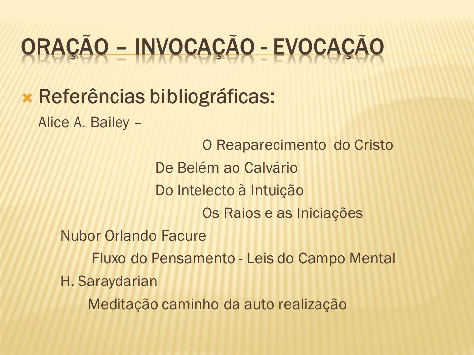  Referências bibliográficas: Alice A. Bailey – O Reaparecimento do Cristo De Belém ao Calvário Do Intelecto à Intuição Os Raios e as Iniciações Nubor