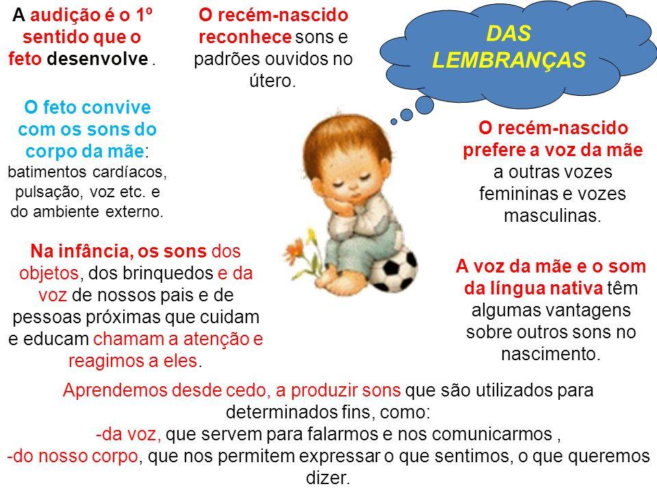 DAS LEMBRANÇAS O recém-nascido prefere a voz da mãe a outras vozes femininas e vozes masculinas.