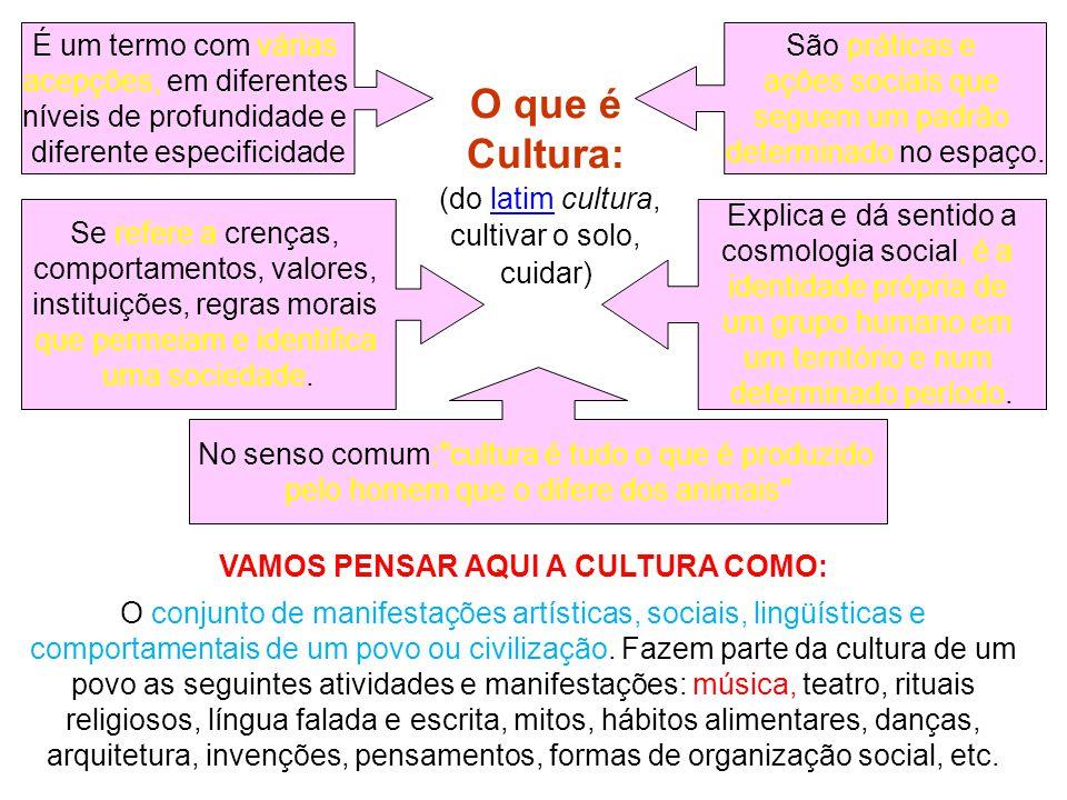 O que é Cultura: (do latim cultura, cultivar o solo, cuidar)latim VAMOS PENSAR AQUI A CULTURA COMO: O conjunto de manifestações artísticas, sociais, lingüísticas e comportamentais de um povo ou civilização.