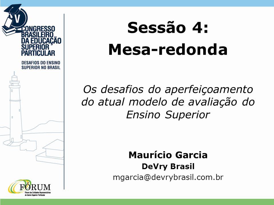 Sessão 4: Mesa-redonda Os desafios do aperfeiçoamento do atual modelo de avaliação do Ensino Superior Maurício Garcia DeVry Brasil mgarcia@devrybrasil.com.br
