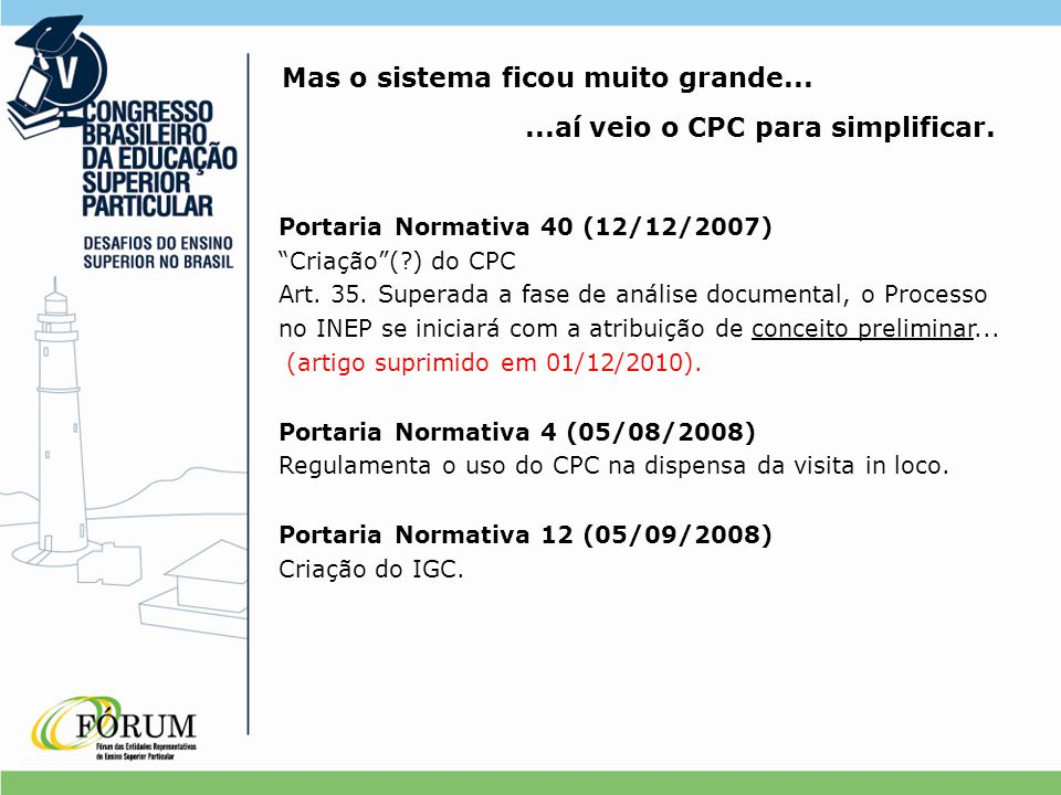 """Portaria Normativa 40 (12/12/2007) """"Criação""""(?) do CPC Art. 35. Superada a fase de análise documental, o Processo no INEP se iniciará com a atribuiçã"""