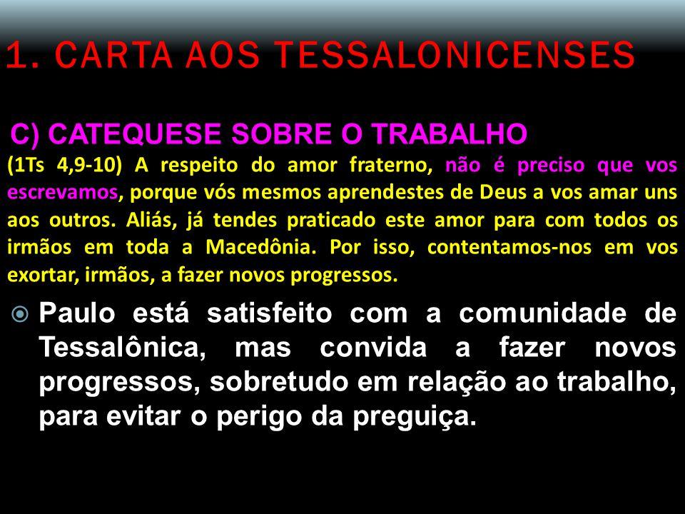 1. CARTA AOS TESSALONICENSES C) CATEQUESE SOBRE O TRABALHO (1Ts 4,9-10) A respeito do amor fraterno, não é preciso que vos escrevamos, porque vós mesm