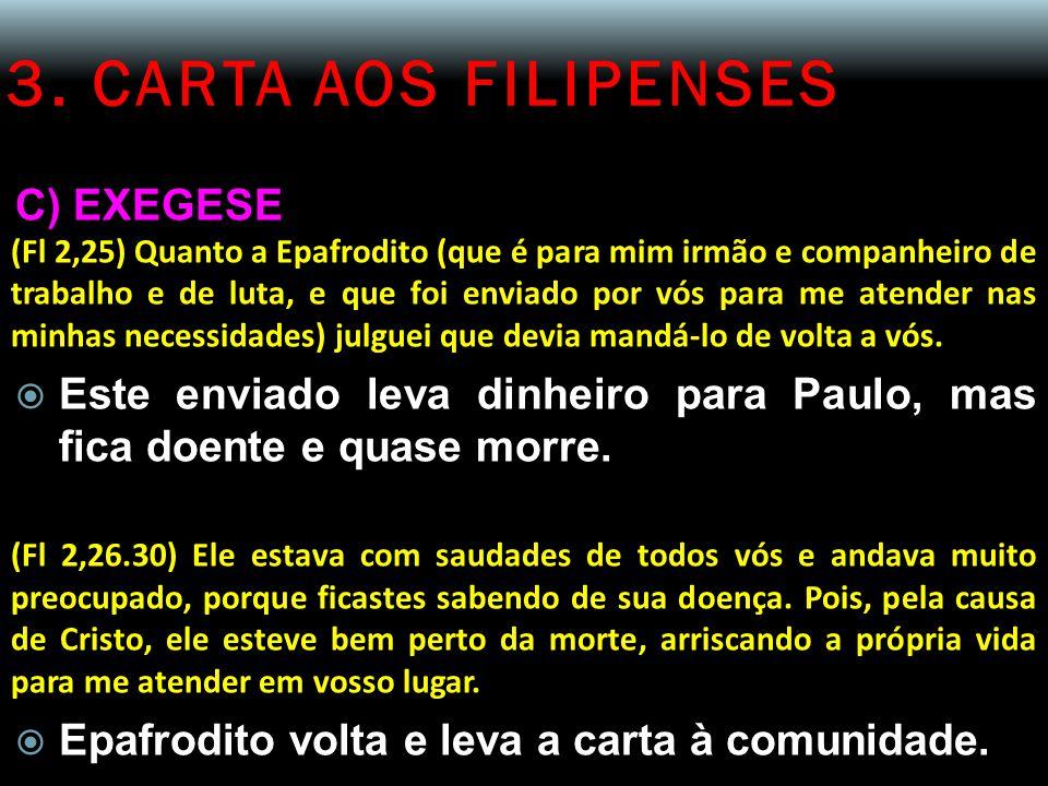 3. CARTA AOS FILIPENSES C) EXEGESE (Fl 2,25) Quanto a Epafrodito (que é para mim irmão e companheiro de trabalho e de luta, e que foi enviado por vós