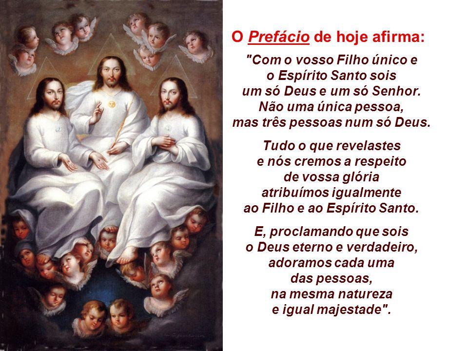 O Prefácio de hoje afirma: Com o vosso Filho único e o Espírito Santo sois um só Deus e um só Senhor.