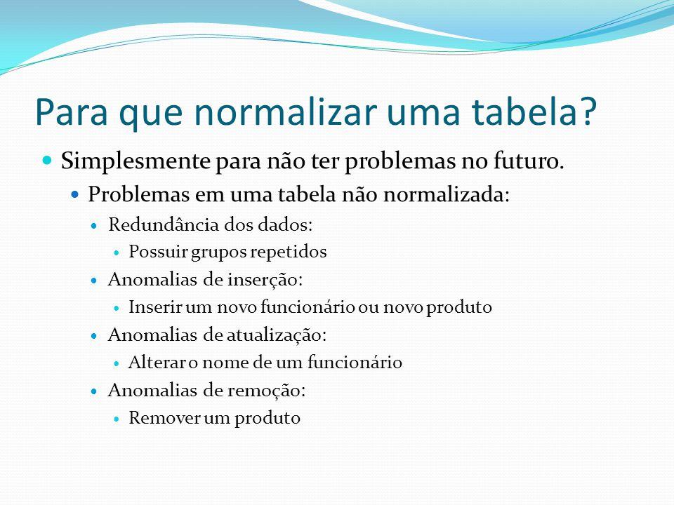 Para que normalizar uma tabela? Simplesmente para não ter problemas no futuro. Problemas em uma tabela não normalizada: Redundância dos dados: Possuir
