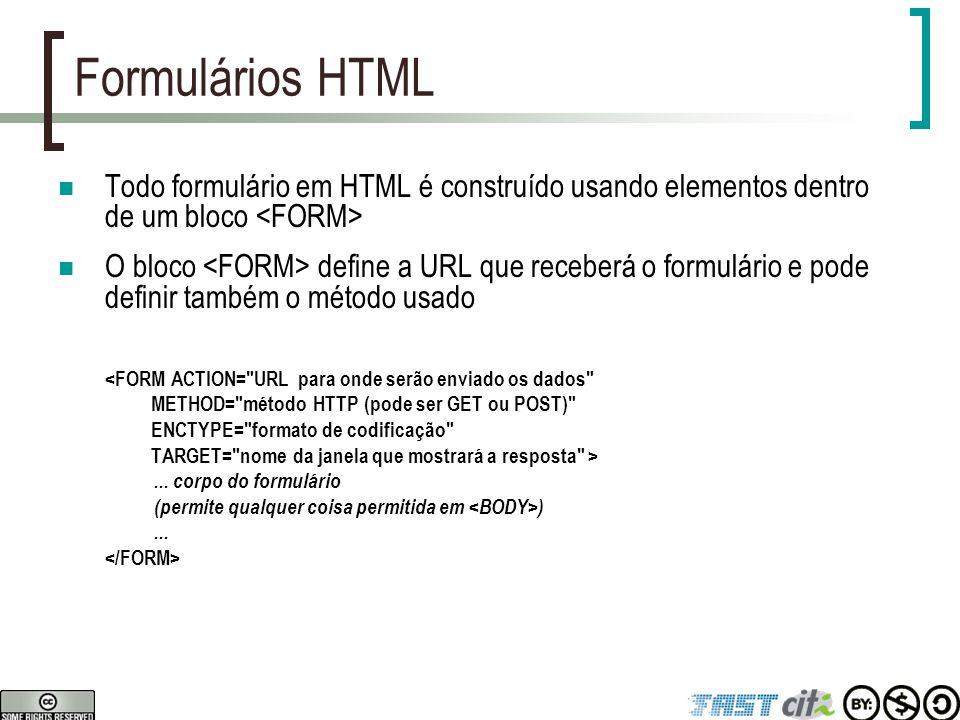 Formulários HTML Todo formulário em HTML é construído usando elementos dentro de um bloco O bloco define a URL que receberá o formulário e pode defini